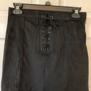NWOT Suede Lace Up Skirt